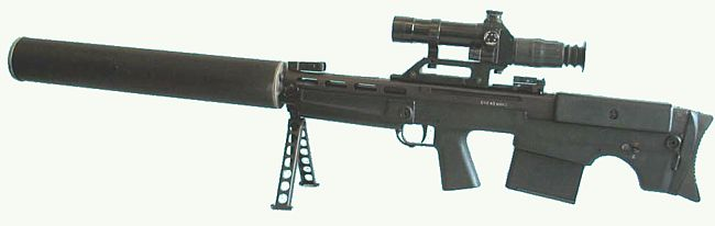 "12.7mm VKs / VSSK ""Vychlop"" large caliber silenced sniper rifle, with integral bipod and silencer, left side."
