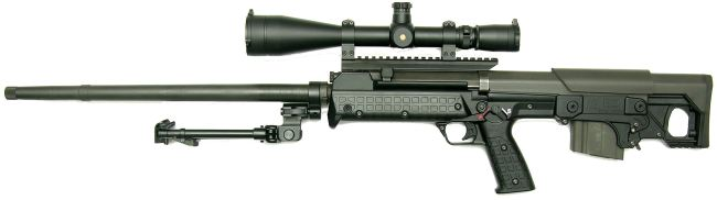 Kel-tec RFB 'Target' rifle with heavy-profile 32-inch barrel, telescope sight, folding bipod and 10-round magazine.