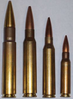 Ammunitionfor VR1 rifle, left to right:.505Gibbs, .408 Chey-tac, .338 Lapua and 7.62NATO / .308Win for scale.Note that .505 is loaded with custom long-range bullet made byVigilance Rifles.