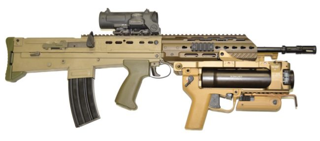 L85A3 rifle with 40mm grenade launcher