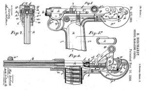 схема из патента на самозарядный пистолет Борхарда 1893 года