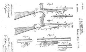 патент Браунинга на карабин с качающимся под стволом газовым поршнем, легший в основу его пулемета М1895