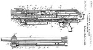 патент 1896 года на пулемет Гочкисс, классический пример системы газоотводной автоматики с длинным ходом газового поршня