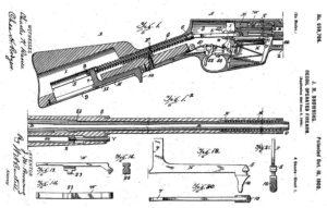 схема из патента на самозарядный карабин Браунинга с подвижным стволом (с длинным ходом), 1900 год