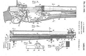 патент Гаранда 1930 года на его самозарядную винтовку, еще один классический вариант системы с длинным ходом поршня