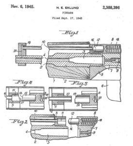 патент на автоматику шведской винтовки Люнгмана с прямым отводом газов к затворной раме