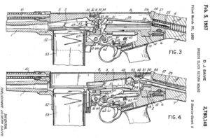 патент на конструкцию винтовки FN FAL, демонстрирующий еще один классический вариант системы с коротким ходом расположенного над стволом поршня