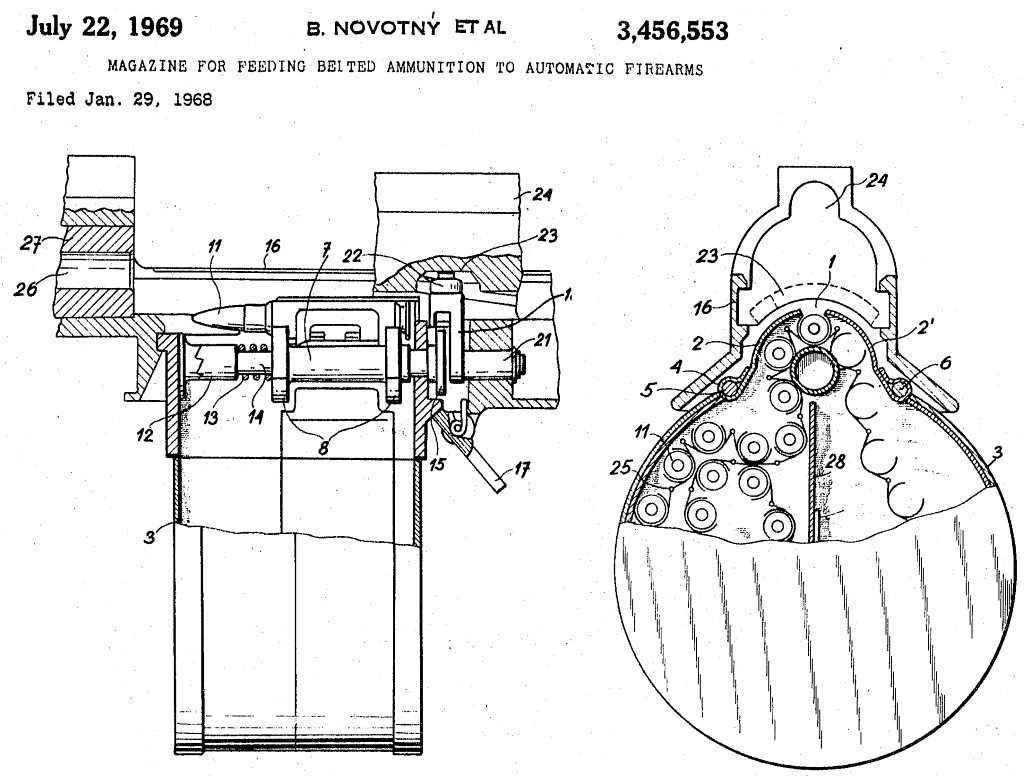 patent diagram for belt feed system used in URZ rifle and machine gun
