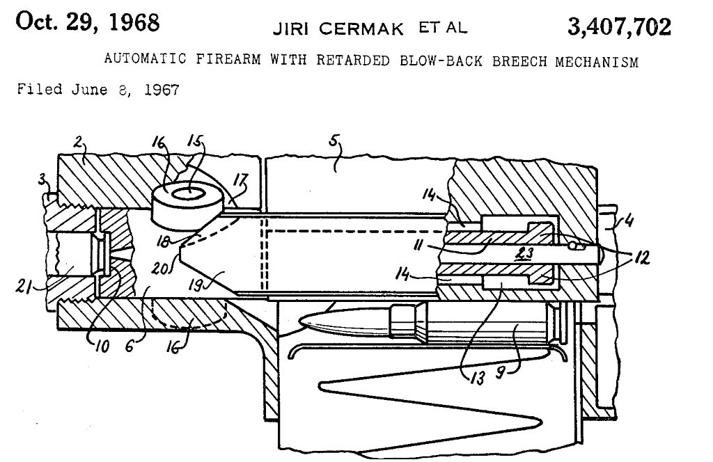 patent diagram for delayed blowback system used in URZ rifle and machine gun