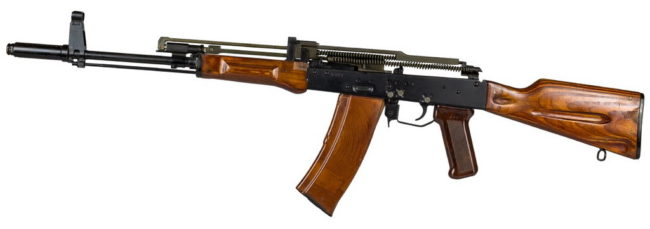 Experimental AL-7 balanced action assault rifle by IZHMASH with covers removed, ca.1974
