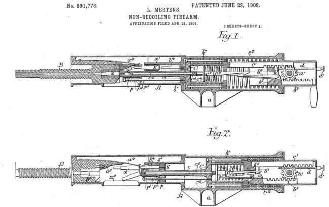 Early patent for balanced action machine gun by Ludwig Mertens