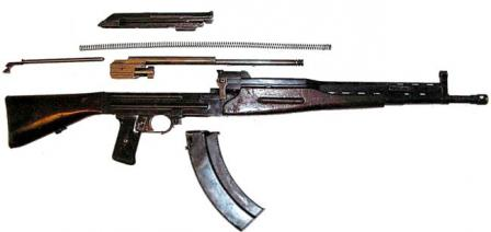 Bulkin AB-46 experimental assault rifle, partially disassembled.