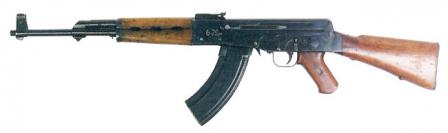 The first Kalashnikov assault rifle prototype of 1946, also known as AK-46.Note that it had numerous internal and external differences from the later models, including separate safety and fire mode selector switches, as well as non-reciprocating charging handle, all located on the left side of the weapon