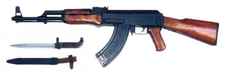 Post-1951 production Kalashnikov AK rifle with milled receiver andbayonet, left side
