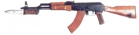 Kalashnikov AKMN rifle (Modernized, with Night sight mounting bracket on the left side of receiver), with muzzle compensator installed
