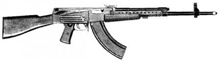 The first Soviet 'true' intermediate cartridge (7.62x41 M43) assault rifle,Sudaev AS-44, as tested in 1944. Unfortunately, Sudaev fell severely ill in 1945 and died next year before finalizing his design.