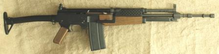 Madsen light automatic rifle LAR M/62, caliber 7.62x51 NATO, folding butt