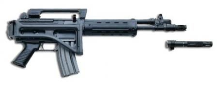 Beretta SCP 70/90 assault carbine.The detachable barrel adaptor is used to launch rifle grenades.