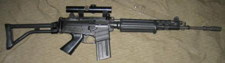 FN CAL assault rifle with folding butt and optional telescope sight