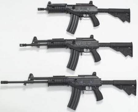5.56mm Galil ACE models 21, 22 and 23 rifles (from top to bottom)