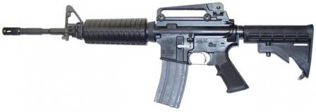 Colt M4 carbine, current issue model with removable carrying handle, left side