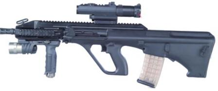 Steyr AUG A3 Carbine with 16inch barrel and optional forward grip / tactical flashlight and telescope sight