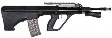 Steyr AUG A2 with Carbine configuration (shorter barrel) and with Picatinny-type rail installed instead of standard telescope sight