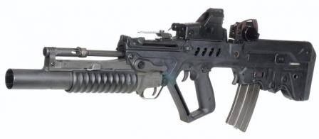 Tavor TAR-21 assault rifle (standard version), fitted with 40mm M203 grenade launcher and grenade launching sight
