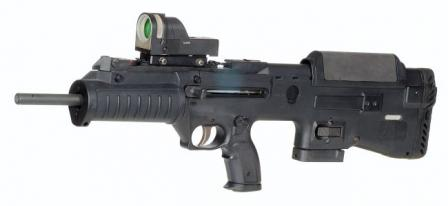 Civilian (semi-automatic only) version of the Tavor. Note the different shape of the butt, handguard and the trigger guard, basically similar to that of the Micro-Tavor (civilian versions with oversized trigger guard also manufactured).