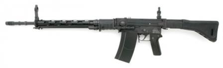 7.5mmSIG Stgw.57 assault rifle as used by Swiss army, left side, with foldedbipod attached to rearward position