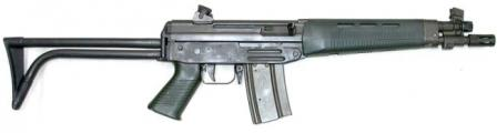5.56mm SIG SG-543 short assault rifle, with side-folding butt
