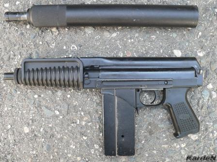 9A-91 compact assault rifle (current production model) with silencer detached and shoulder stock folded