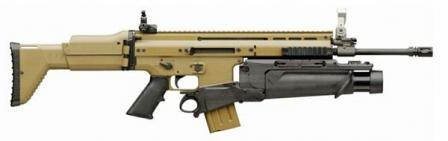FN SCAR-L / Mk.16 rifle, 2nd generation prototype, with FN EGLM 40mm grenade launcher attached