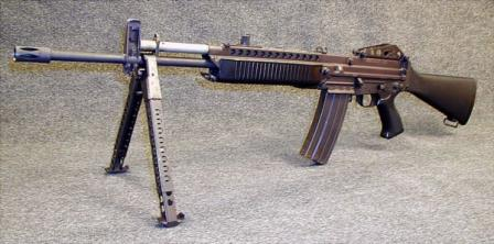 5.56mm Stoner 63A rifle, with detachable bipod