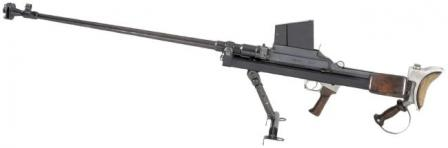 "Boys Mk.I anti-tank rifle, with circular muzzle brake and ""inverted T"" shaped bipod, as made by BSA in england."