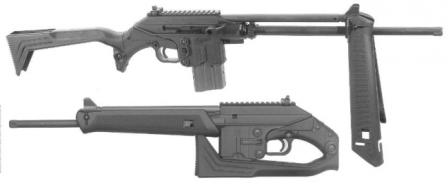 Kel-tec SU-16C rifle in various configurations; note that unlike predecessors it can be fired with butt folded.