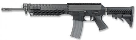 SIG 556 semi-automatic rifle,left side; buttstock collapsed.
