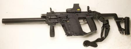 KRISS Vector CRB/SO self-loading carbine,left side. Long barrel is encased into jacket that simulates a sound moderator(silencer).