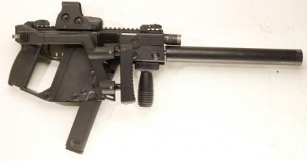 KRISS Vector CRB/SO self-loading carbine, right side. Shoulder stock is collapsed, and an extended magazine is inserted.