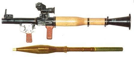 RPG-7V antitank grenade launcher with PGO-7 telescope sight and a PG-7VM grenade in ready to load condition (with launch charge attached).
