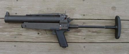 HK69 grenade launcher, with shoulder stock extended.