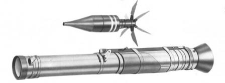 AT4 launcher tube (fired) and grenade in in-flight configuration, with stabilizator finsextended.