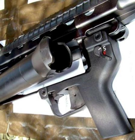 HK AG36 grenade launcher, with the breech opened for reloading.