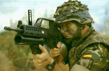 AG36 grenade launcher in action with Spanish soldier, mounted under the HK G36Erifle.