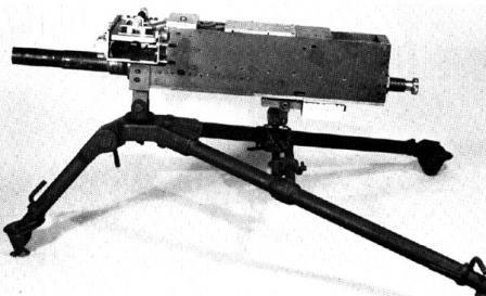 The very early (probably prototype) Mark 19 model 0 grenade launcher; note that it lacks sights and any grips.