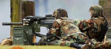 Firing Mk.19 mod.3 automatic grenade launcher in infantry configuration.