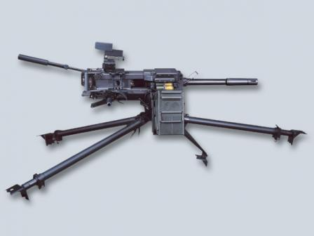 HK GMG on tripod (low position) with ammunition box.