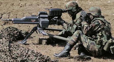 XM307 ACSW grenade launcher on field trials.