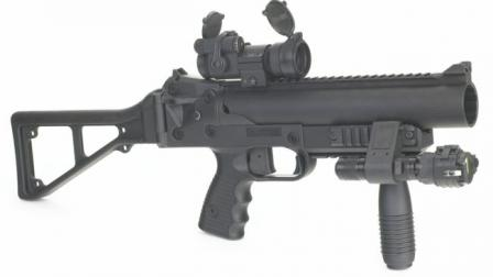 GL-06 grenade launcher with optional accessories such as Red Dot sight, forward grip and a tactical light.