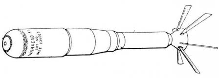 Drawing of the M74 incendiary rocket in flight configuration (with tail fins extended).